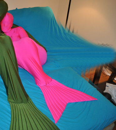Mermaid Lycra Zentai Suit Army Pink