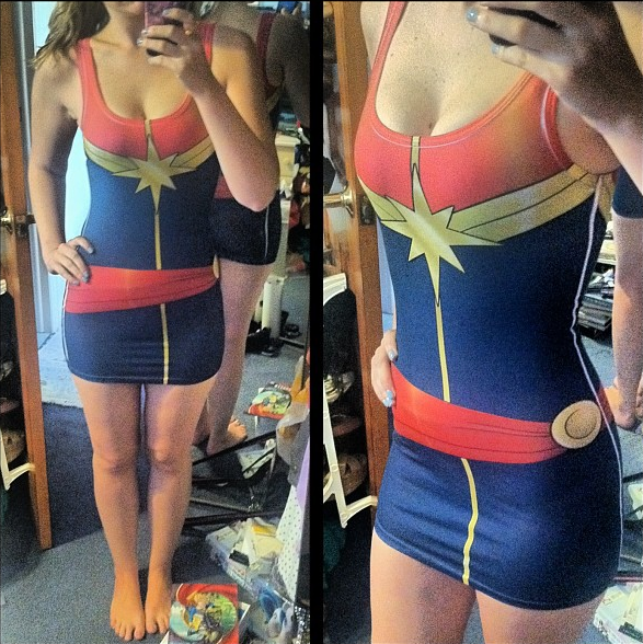 Ms.Marvel Carol Danvers Lycra Fabric Dress