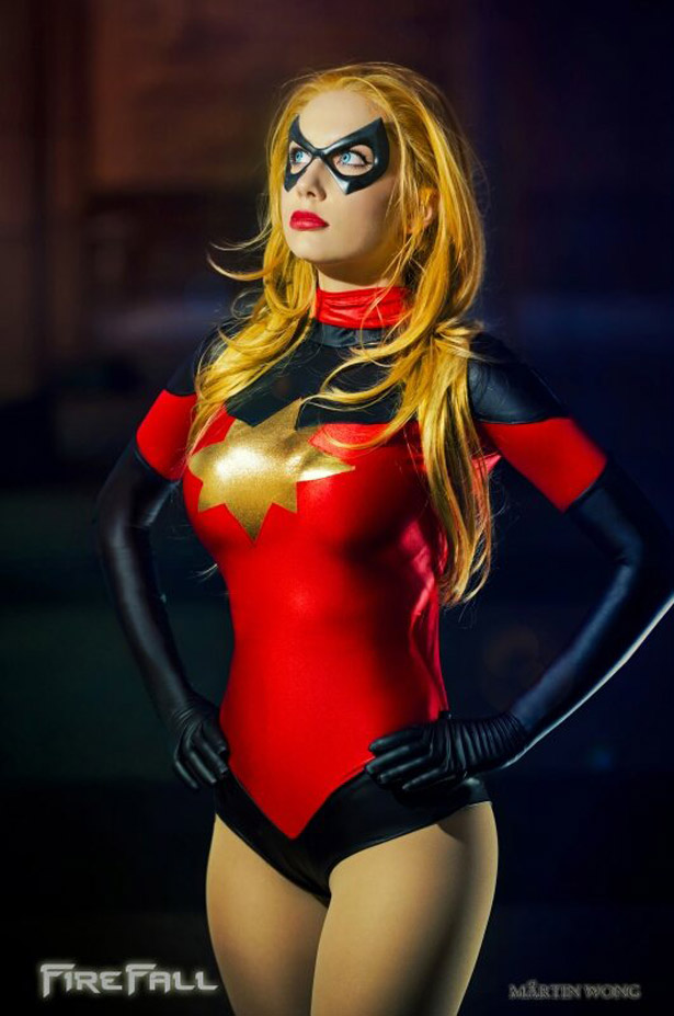 Ms.Marvel Carol Danvers Sexy Bodysuit Costume Girl