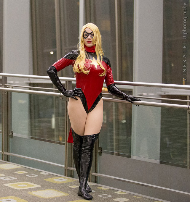 Ms.Marvel Carol Danvers Shiny Bodysuit For Halloween