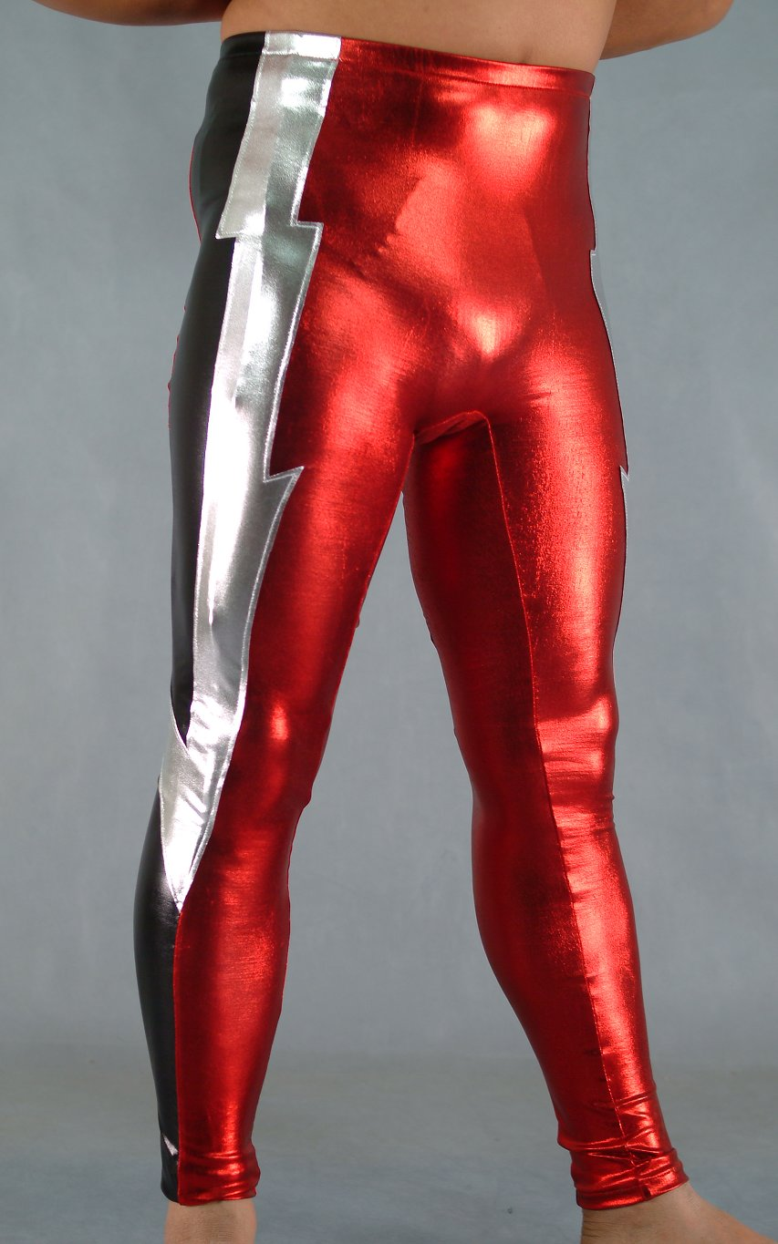 Multicolor Red Shiny Spandex Spandex Leggings