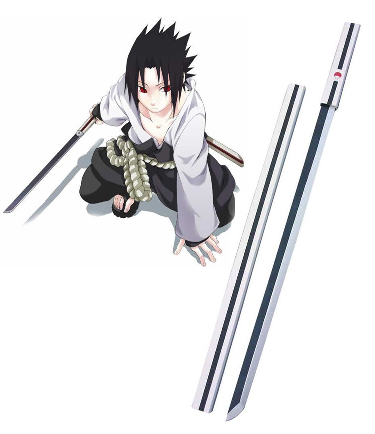 Naruto Uchiha Sasuke White Kusanagi Cosplay Wooden Weapons