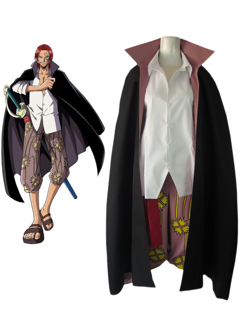 One Piece Red-Haired Shanks Two Years Latter Cosplay Costume 022