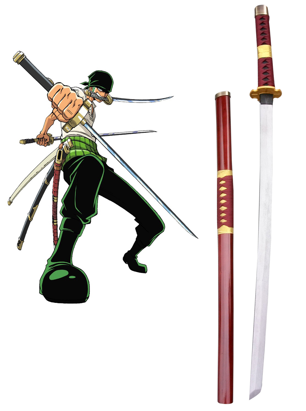 One Piece Roronoa Zoro Three Sword Style Cosplay Wooden Weapons