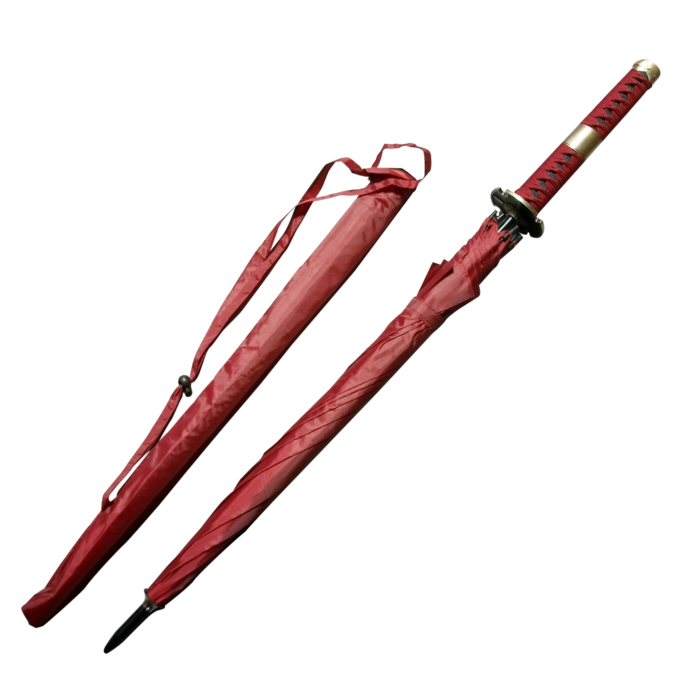 One Piece Roronoa Zoro Three Sword Style Red Anime Samurai Umbrella Sword