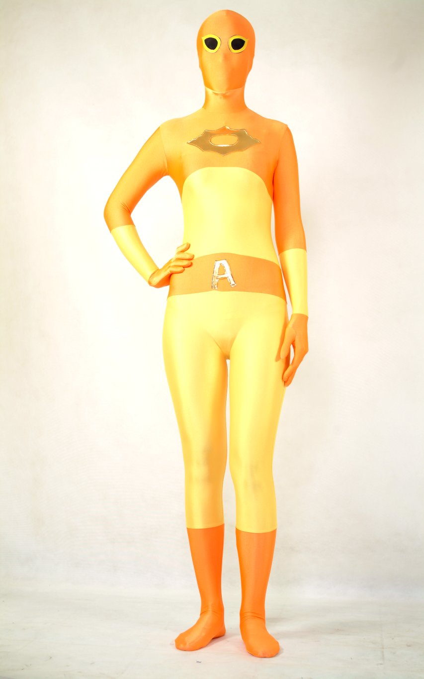 Orange A Lycra Full Body Suit Zentai