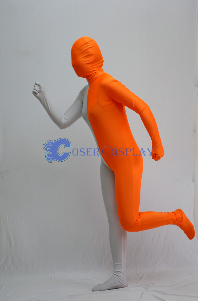 Orange And White Split Zentai Suits
