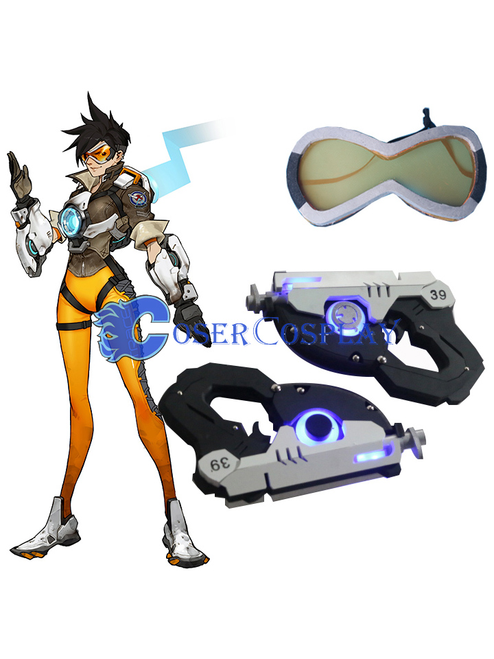 Overwatch OW Tracer Lena Oxton Cosplay Weapons