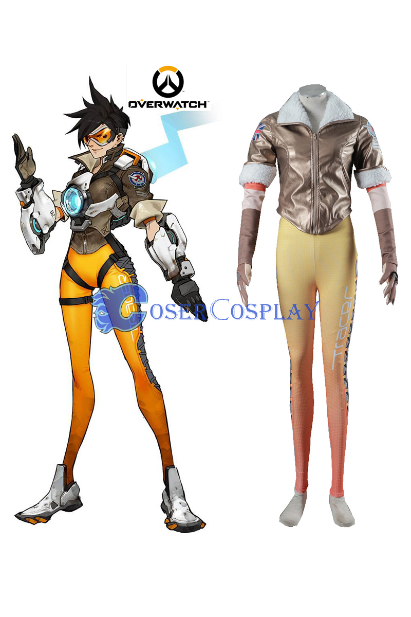Overwatch OW Tracer Lena Oxton Uniform Cosplay Costume