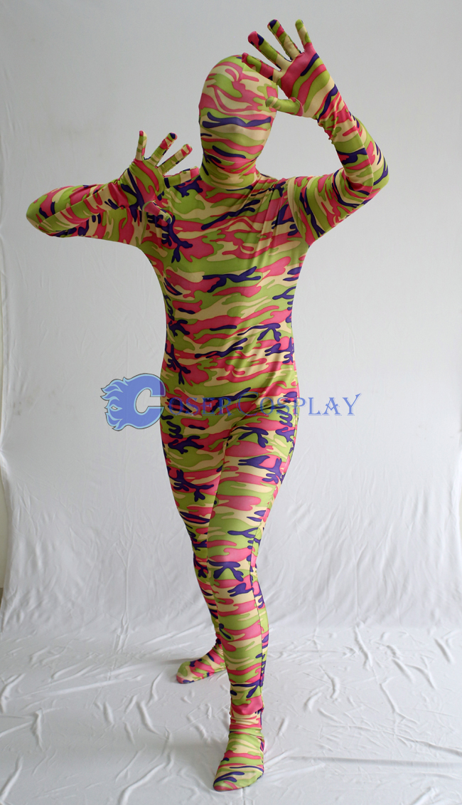 Pink Green Camouflage Zentai Suits