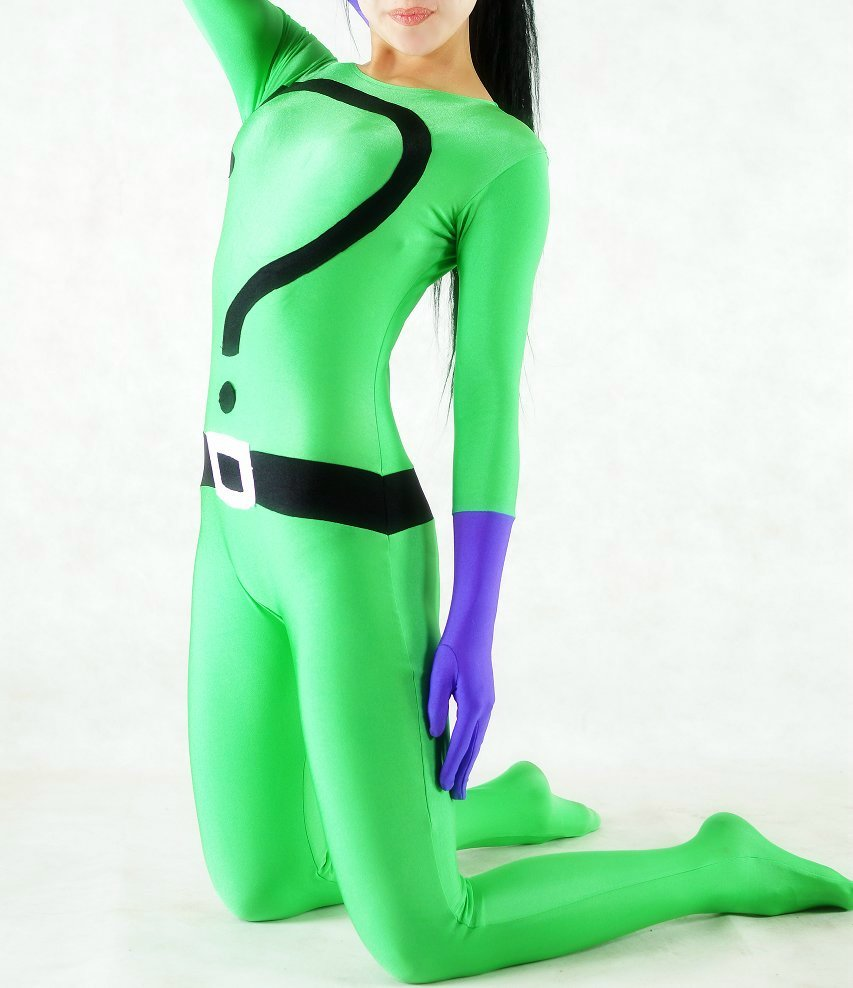 Question Mark Spandex Green Catsuit