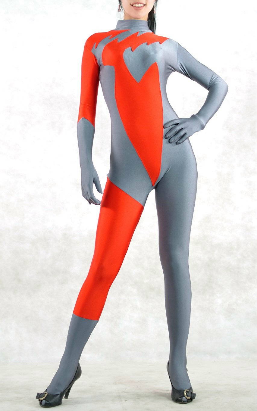 Red And Grey Lycra Spandex Catsuits