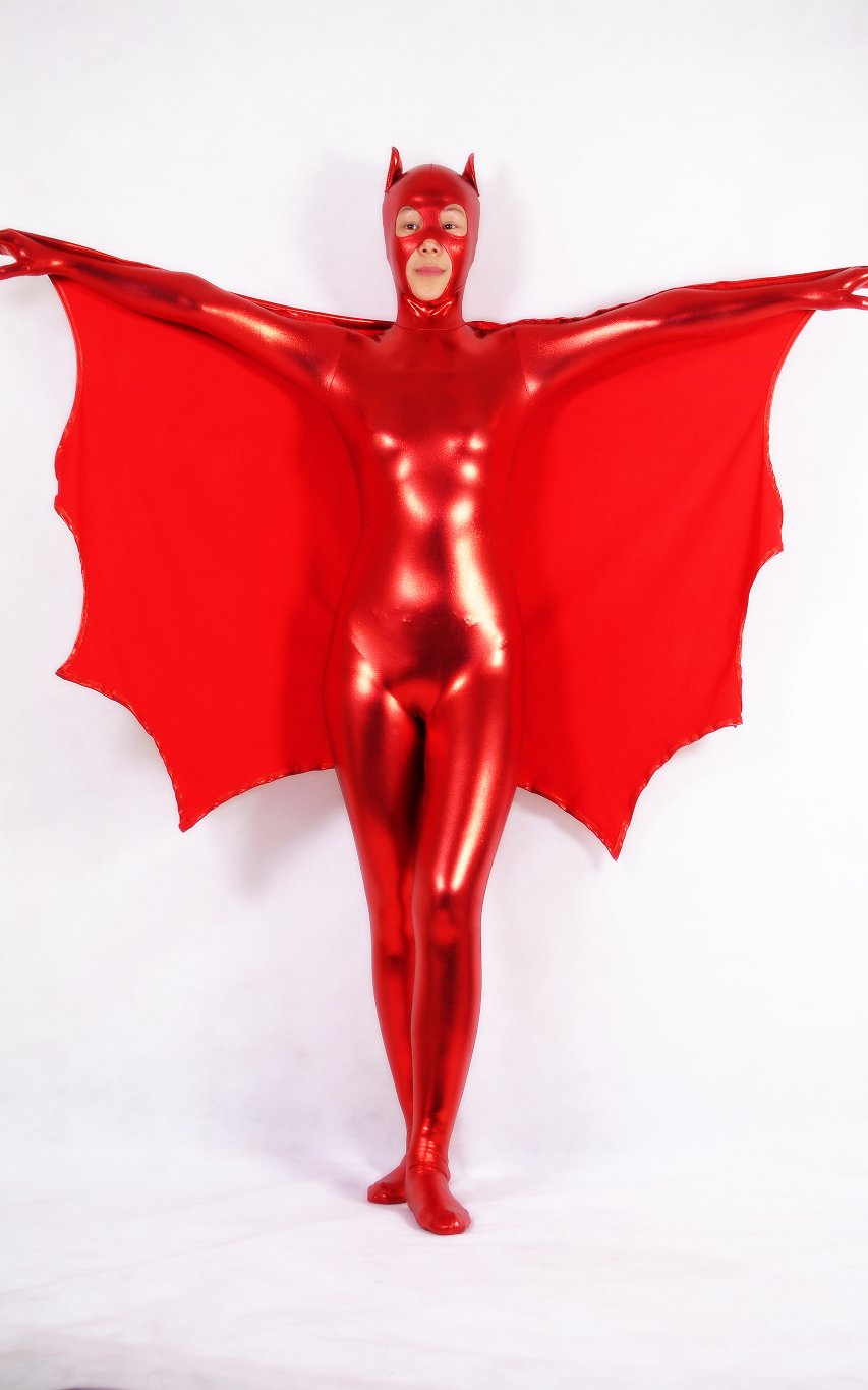 Red Batman Shiny Spandex Zentai Costume