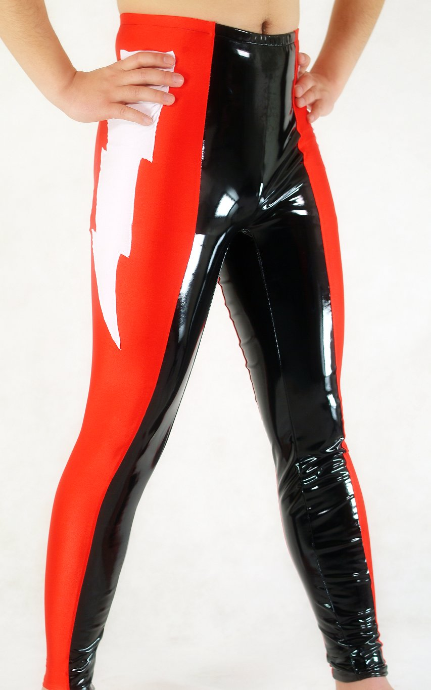Red Black PVC Spandex Leggings Men