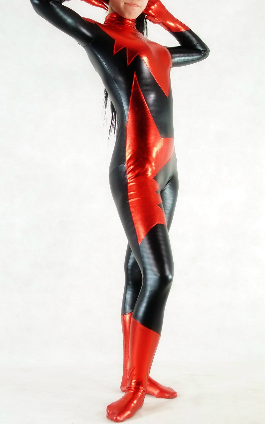 Red Black Sexy Shiny Spandex Catsuit