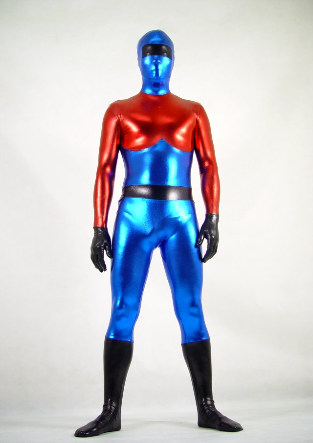 Red Blue Shiny Spandex Full Body Suit Zentai