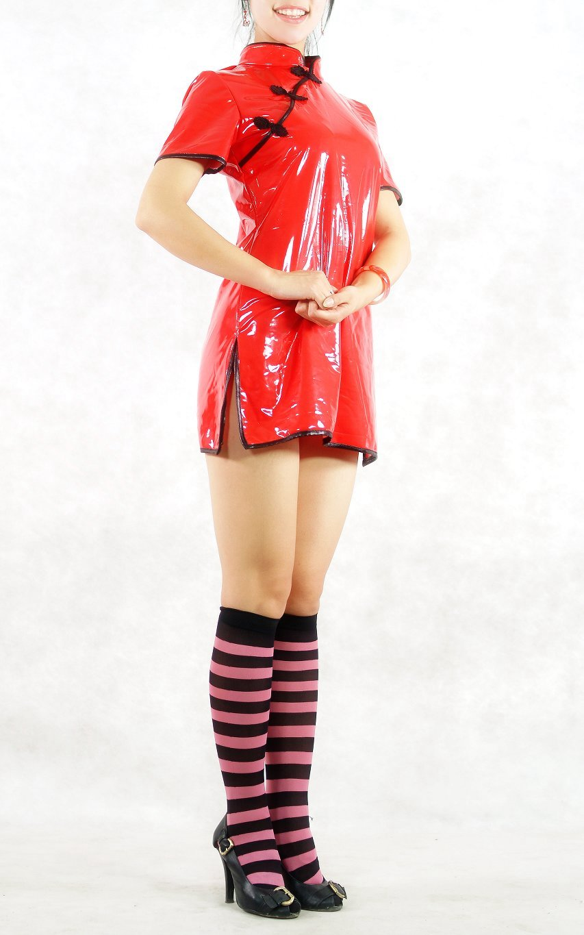 Red Cheongsam PVC Costume Dress