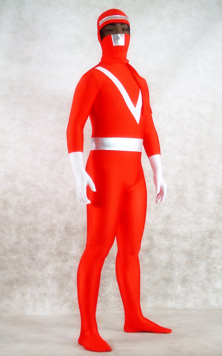 Red Ranger Superhero Halloween Costumes Zentai