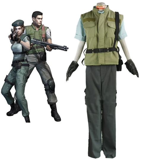 Resident Evil 1 Chris Redfield S.T.A.R.S. Uniform Cosplay Costume