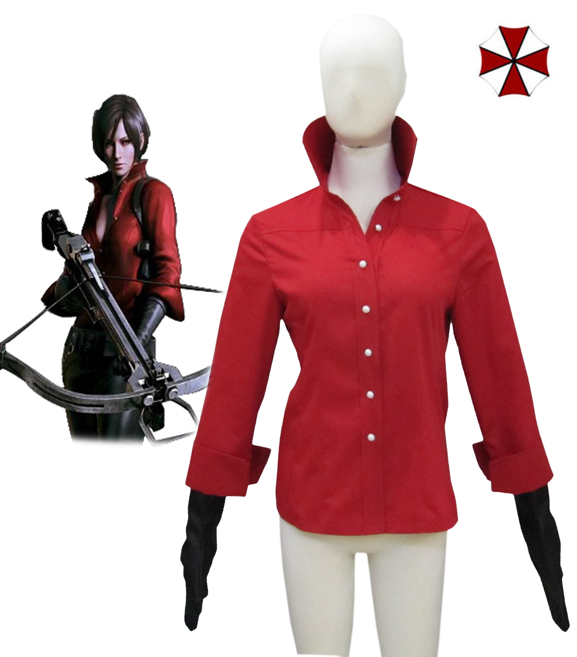 Resident Evil 6 Ada Wong Red Shirt Cosplay Costume