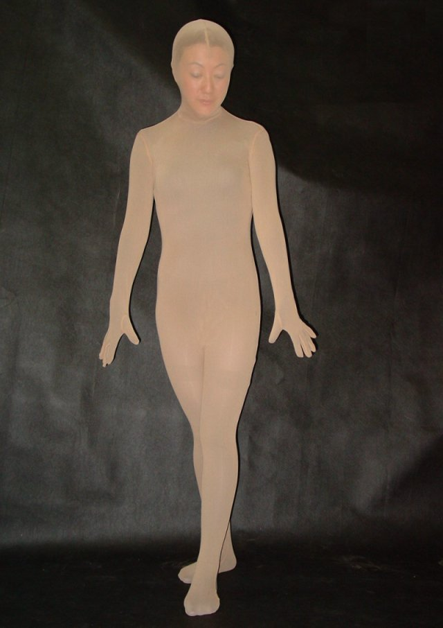 Sexy Nude Silk Lycra Full Body Suit
