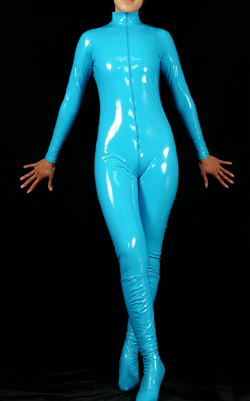 Sexy PVC Catsuit Lake Blue