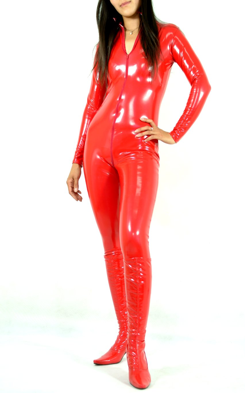 Sexy PVC Catsuit Red