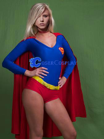 Sexy Supergirl Cosplay Costume Cape Bodysuit