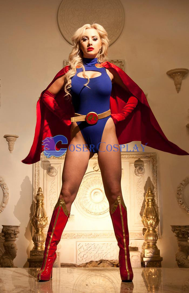 Sexy Supergirl Cosplay Costume Cape Catsuit