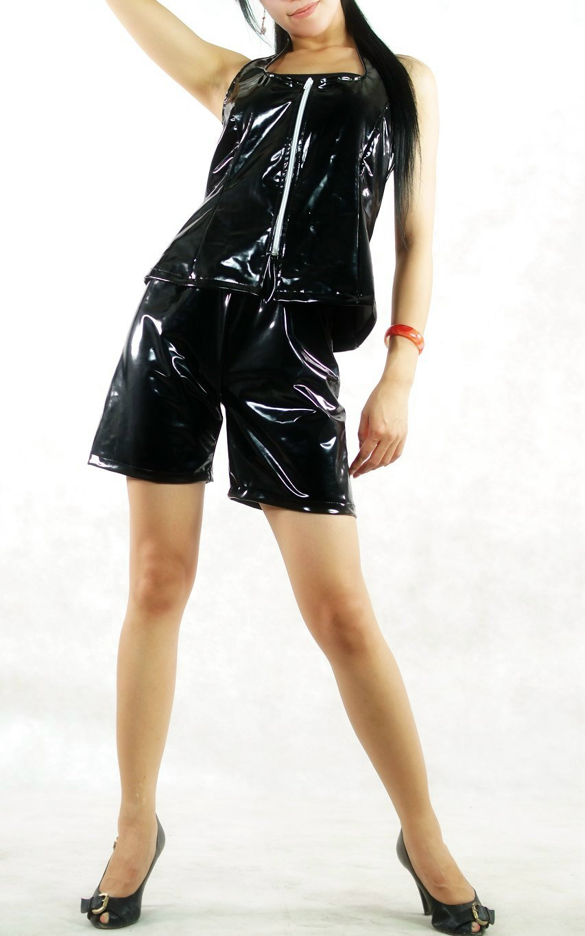 Sexy Unicolor Black PVC Suit