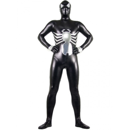 Shiny Metallic Black Spiderman Costume