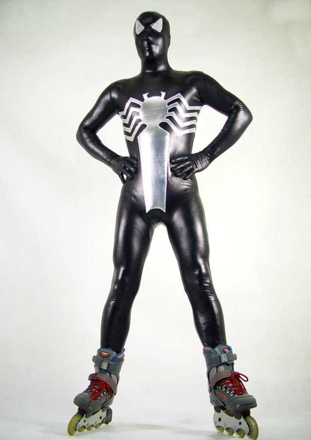 Shiny Spandex Black Spiderman Zentai Suits