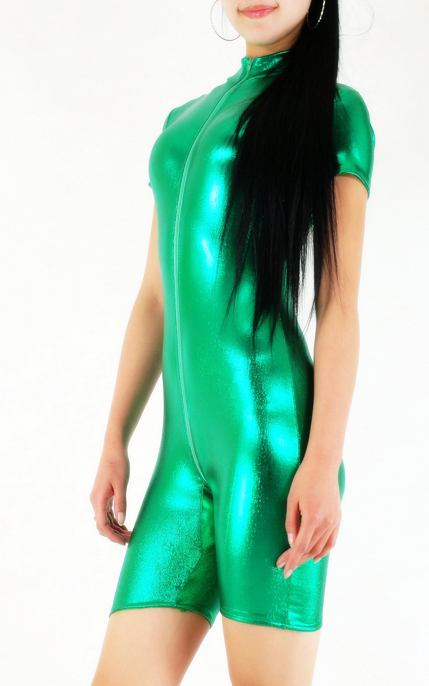 Shiny Spandex Bodysuit Sexy Green