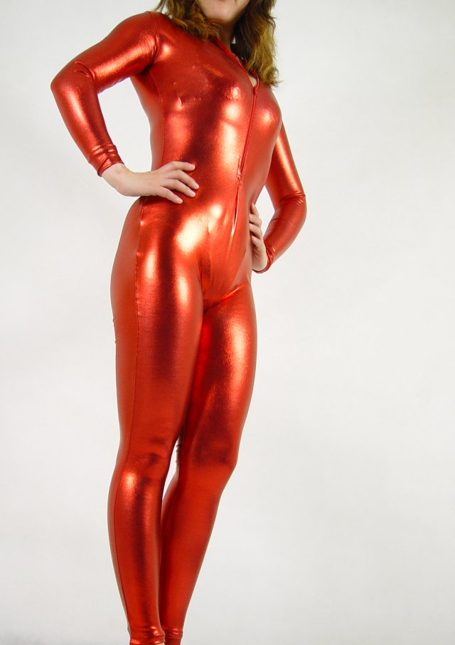 Shiny Spandex Sexy Catsuit Red