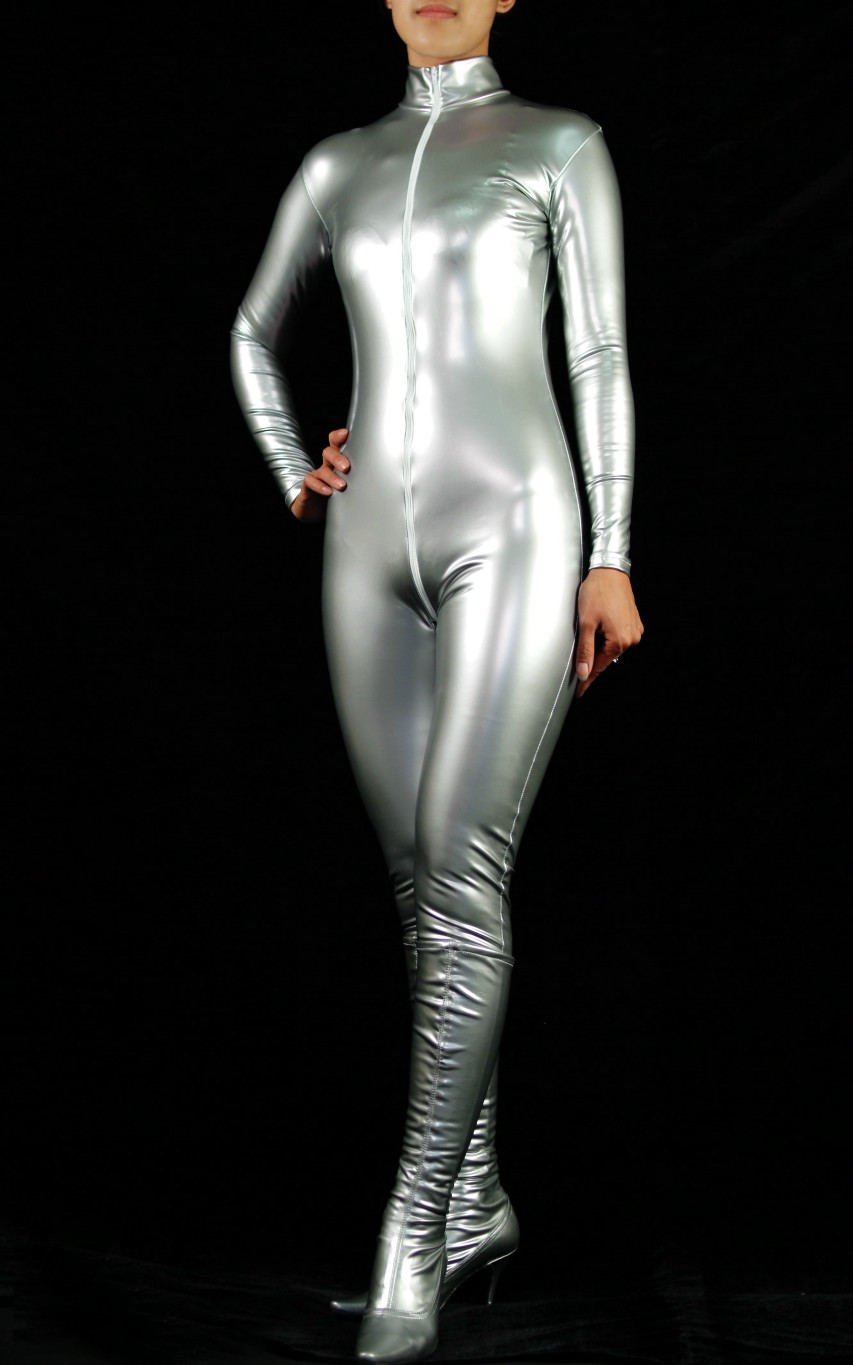 Shiny Spandex Sexy Catsuit Silver