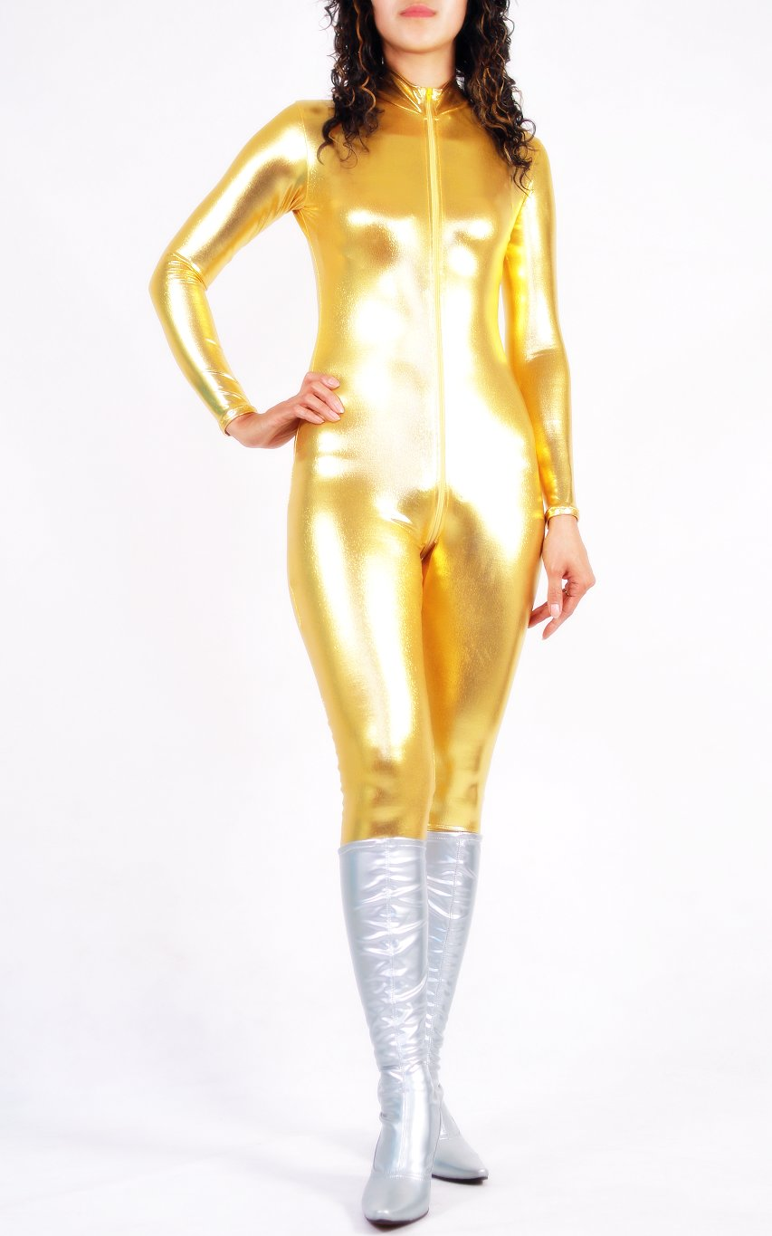 Shiny Spandex Sexy Catsuits Gold