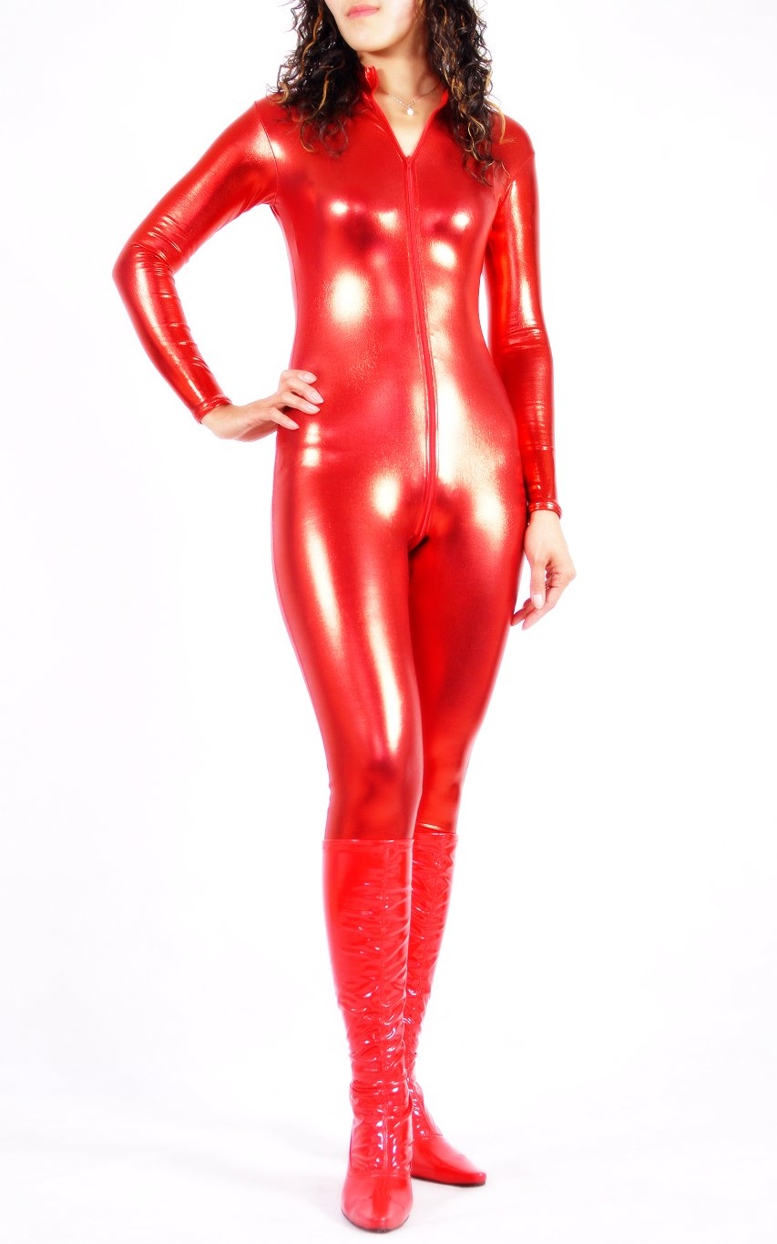 Shiny Spandex Sexy Catsuits Red