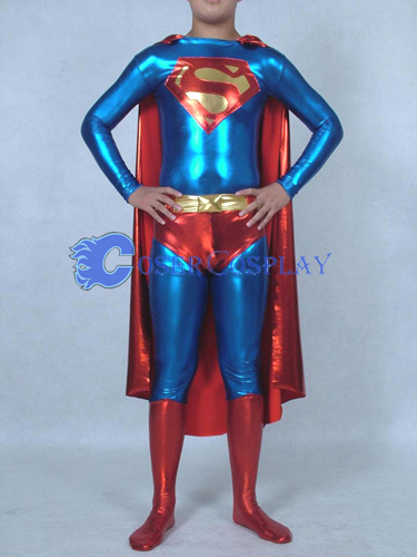 Shiny Superman Costume Halloween Superhero Capes