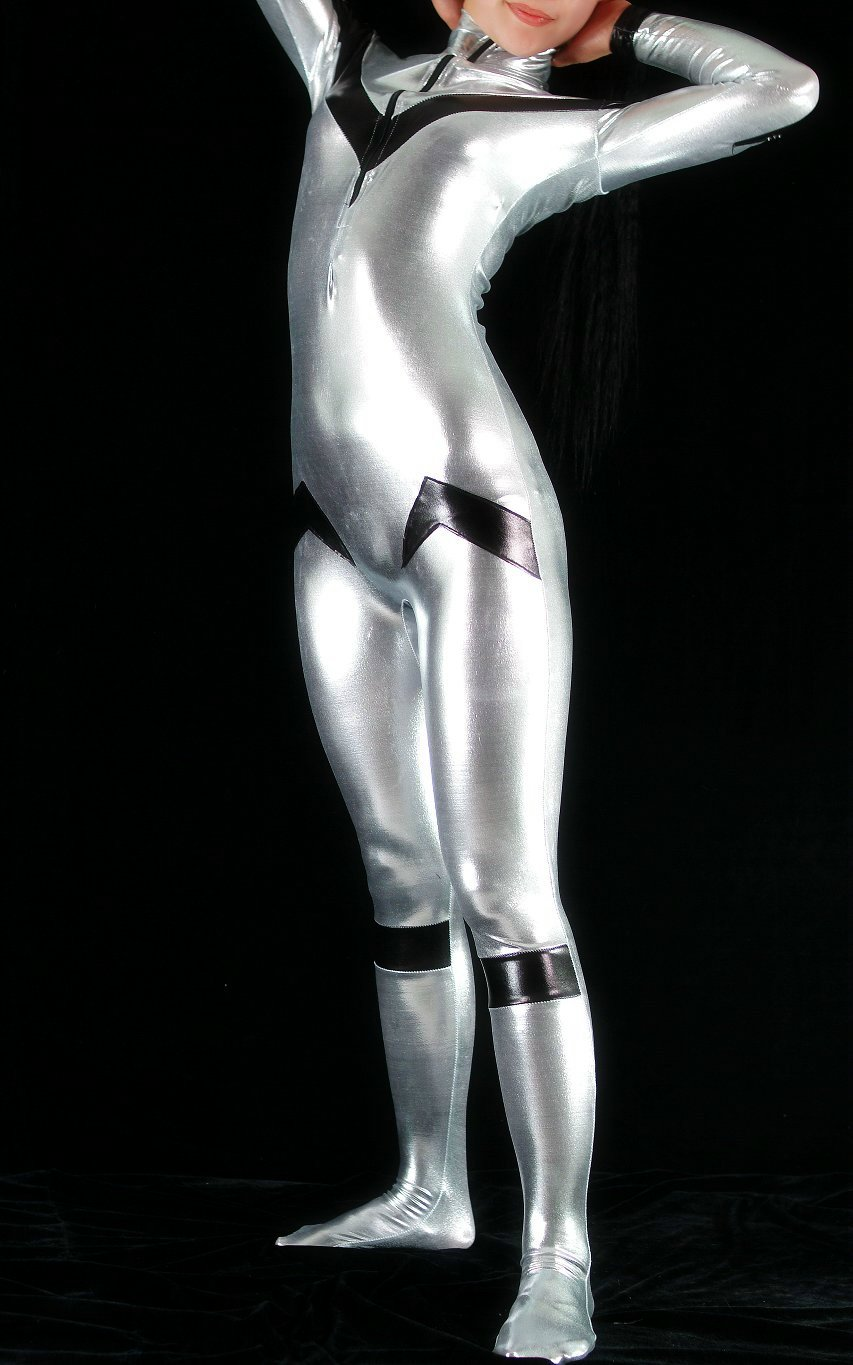 Silver Black Shiny Spandex Cat Suit
