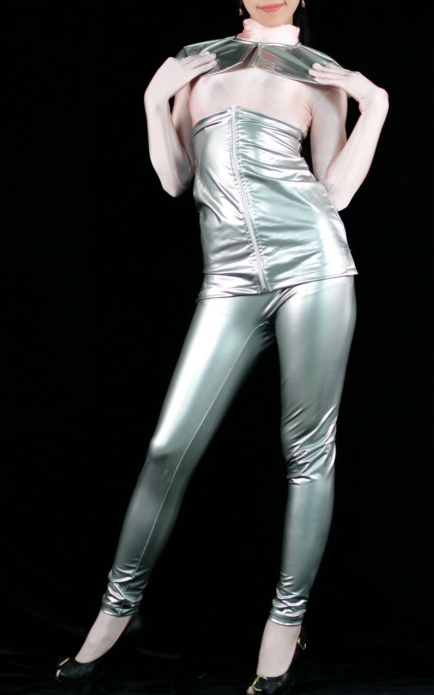 fetish Spandex clothes silver fashion