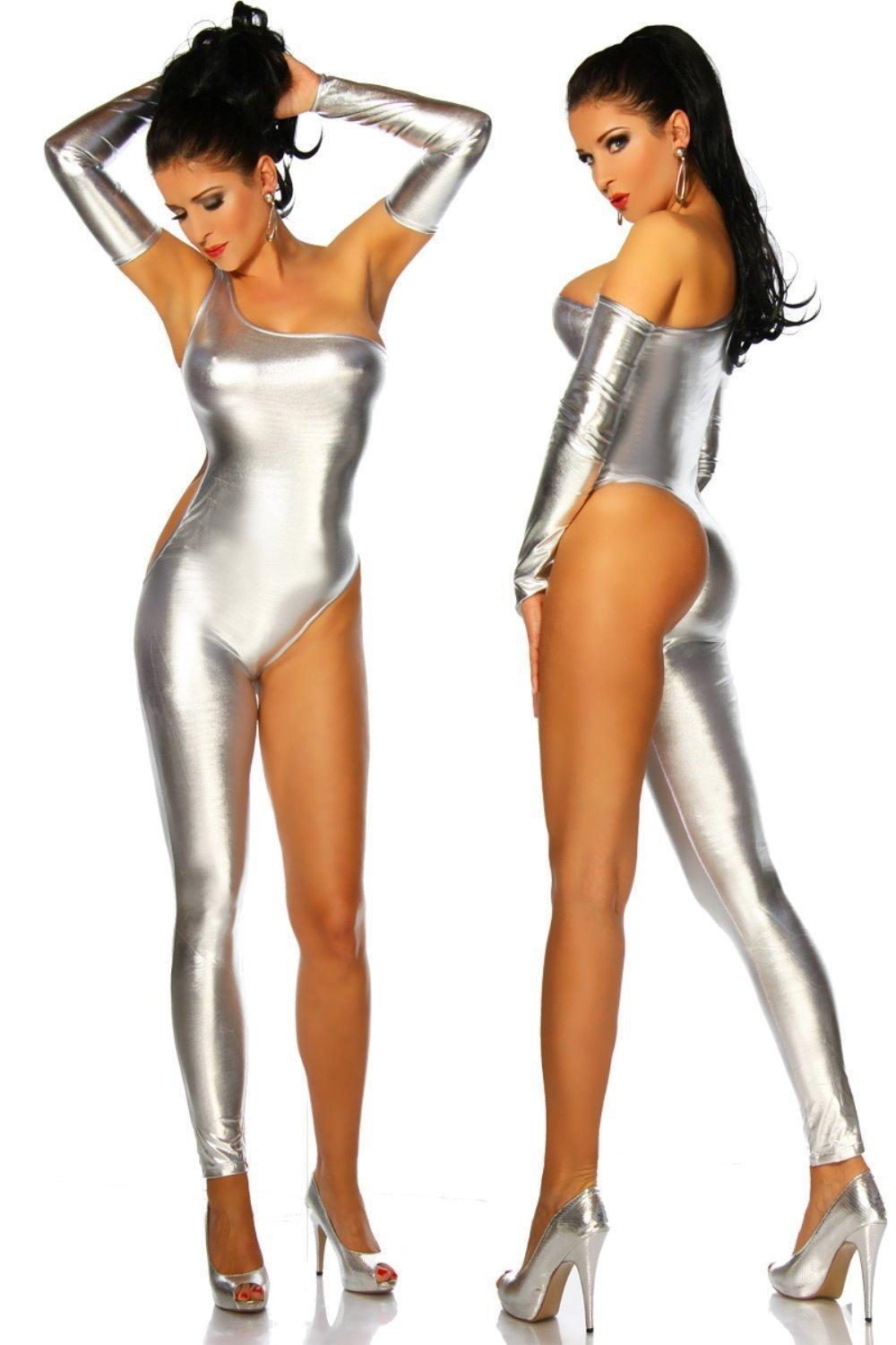 Silver Wetlook Catsuit Sexy Lingerie