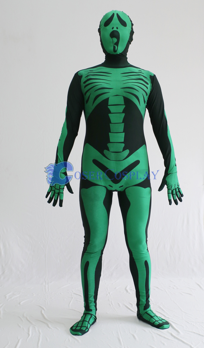 Skeleton Halloween Costume Green Zentai