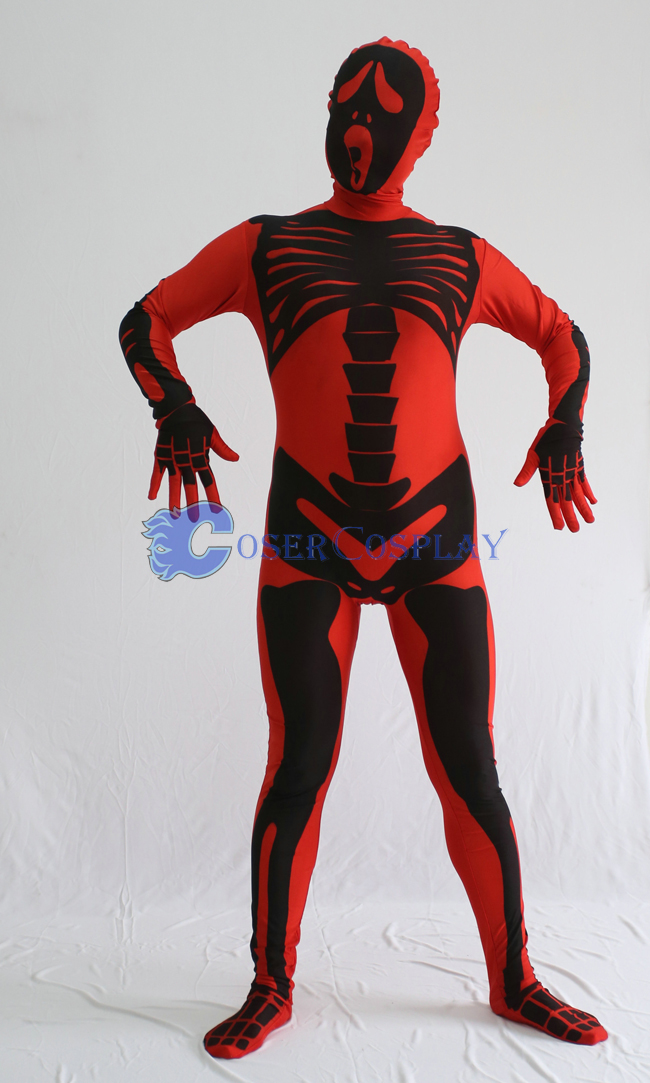 Skeleton Halloween Costume Red Zentai