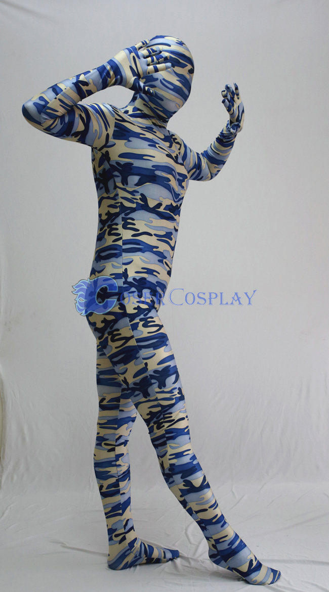 Sky Blue Camouflage Full Body Suit