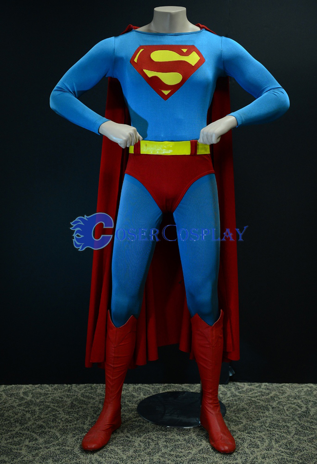 Sky Blue Superman Cosplay Costume Cape Catsuit