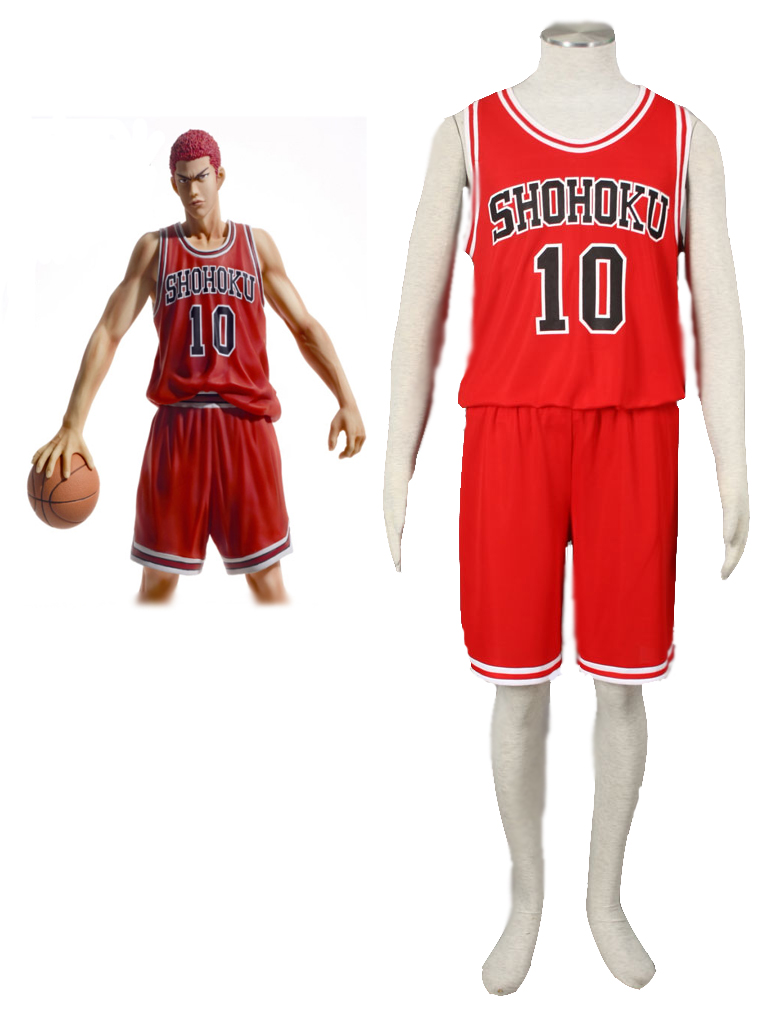Slam Dunk Hanamichi Sakuragi The Shohoku High School basketball team Uniform Red Number 10 Cosplay Costume