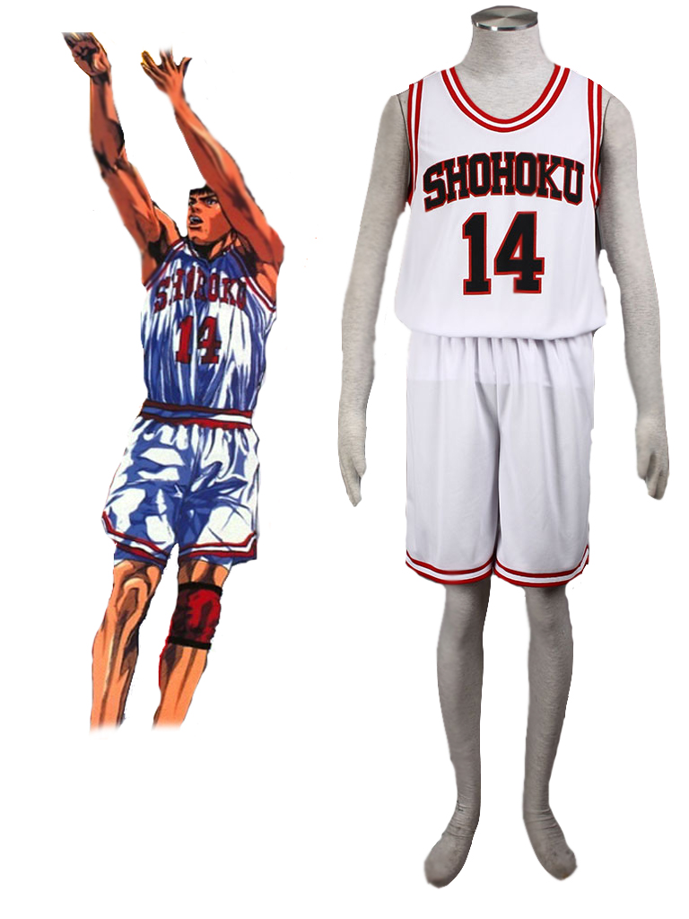 Slam Dunk Hisashi Mitsui The Shohoku High School basketball team Uniform White Number 14 Cosplay Costume