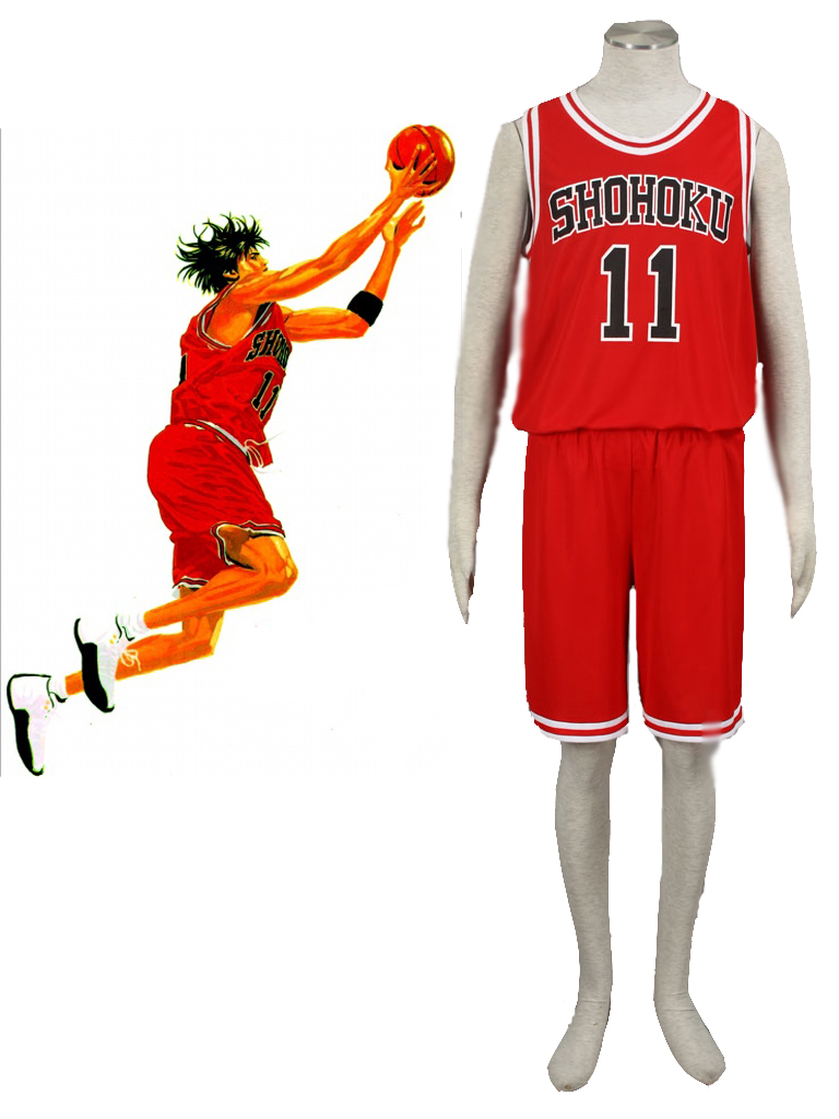 Slam Dunk Kaede Rukawa The Shohoku High School basketball team Uniform Red Number 11 Cosplay Costume