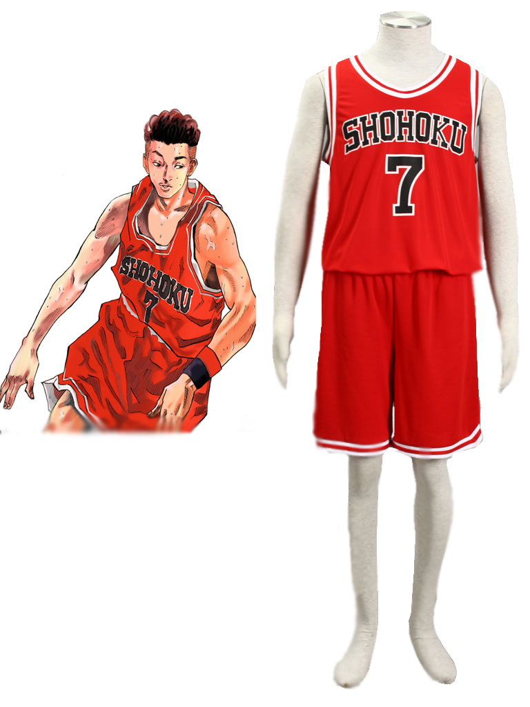 Slam Dunk Ryota Miyagi The Shohoku High School basketball team Uniform Red Number 7 Cosplay Costume