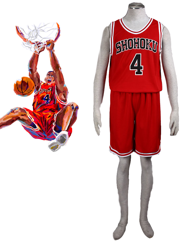 Slam Dunk Takenori Akagi The Shohoku High School basketball team Uniform Red Number 4 Cosplay Costume